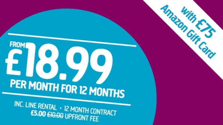 Plusnet's amazing new broadband deal comes with a £75 Amazon.co.uk Gift Card