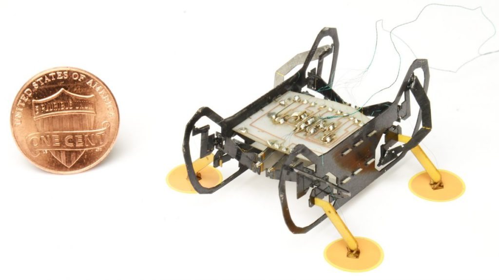 Harvard's bug-sized robot uses electric feet to explore tiny spaces upside-down 3