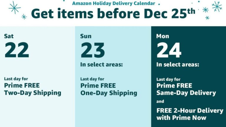 Amazon Prime free shipping: order now for Christmas delivery