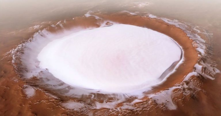 See Stunning New Images of a Mars Crater Full of Mile-Thick Ice