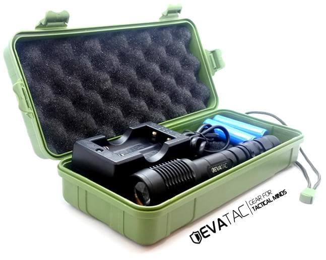 evatac flashlight with its case