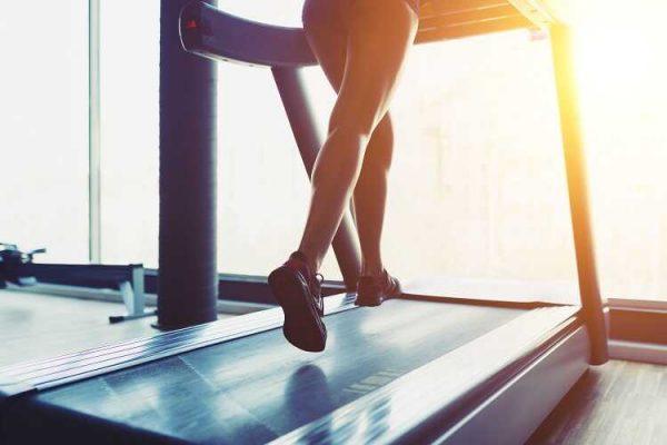 women running on a treadmill