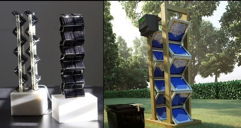 MIT's 3D Solar Tower prototype and real-life, man-sized 3D Solar tower system.